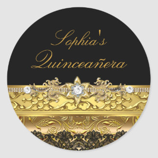 Gold Floral & Lace Quinceanera Sticker