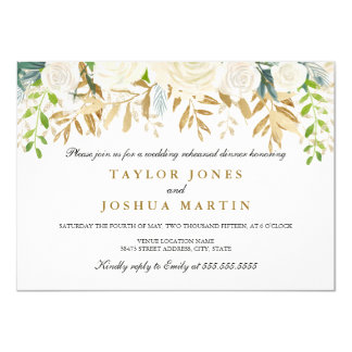 Gold Floral Leaf Rehearsal Dinner Invite