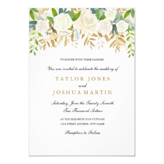 Gold Floral Leaf Watercolor Wedding Invitation