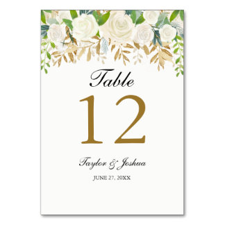 Gold Floral Leaf Watercolor Wedding Table Cards