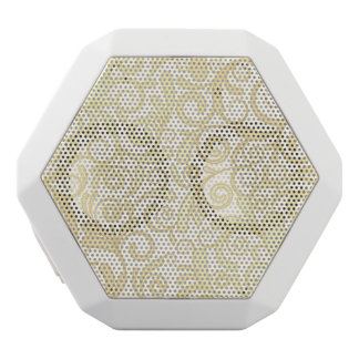 Gold floral leaves pattern white boombot rex bluetooth speaker