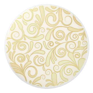 Gold floral leaves pattern ceramic knob