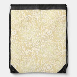 Gold floral leaves pattern drawstring bag