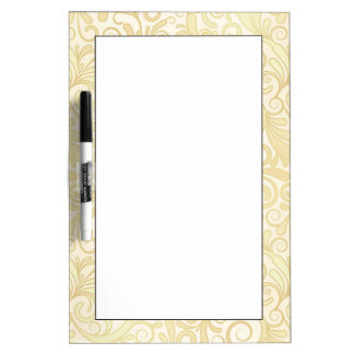 Gold floral leaves pattern dry erase board