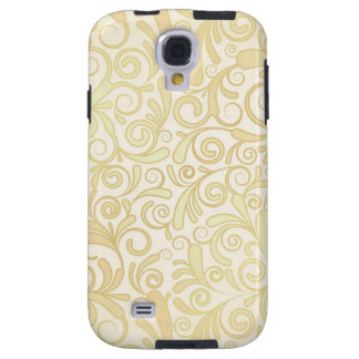 Gold floral leaves pattern galaxy s4 case