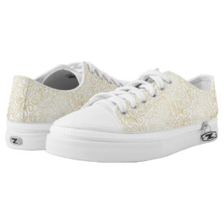 Gold floral leaves pattern low tops
