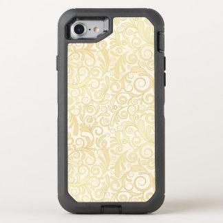 Gold floral leaves pattern OtterBox defender iPhone 8/7 case