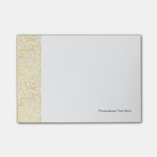 Gold floral leaves pattern post-it notes