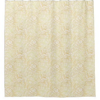 Gold floral leaves pattern shower curtain