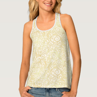 Gold floral leaves pattern tank top