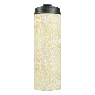 Gold floral leaves pattern thermal tumbler