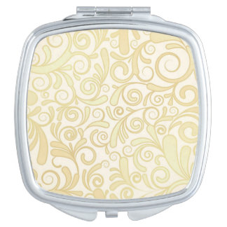 Gold floral leaves pattern travel mirror