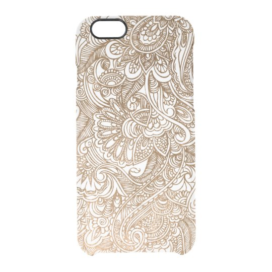Gold Floral Mehndi Henna Clear Clear iPhone 6/6S