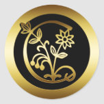 GOLD FLORAL MONOGRAM LETTER C ROUND STICKERS