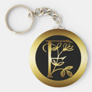 GOLD FLORAL MONOGRAM LETTER F BASIC ROUND BUTTON KEY RING