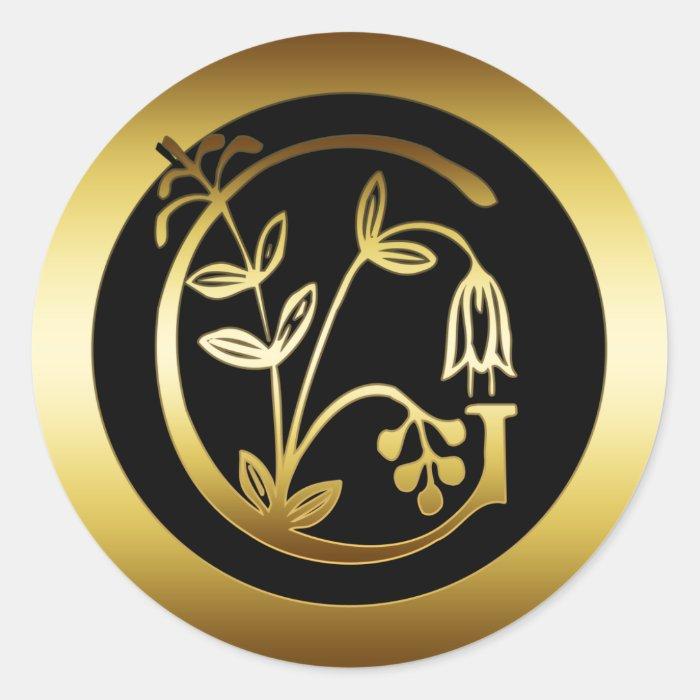 GOLD FLORAL MONOGRAM LETTER G ROUND STICKER