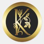 GOLD FLORAL MONOGRAM LETTER K ROUND STICKER