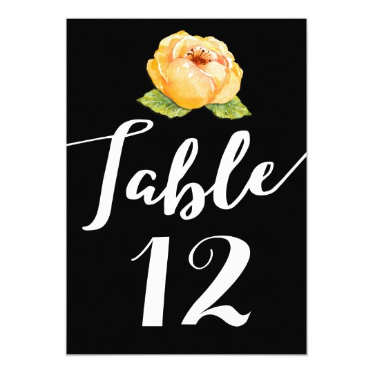 Gold Floral on Black Wedding Table Number Card