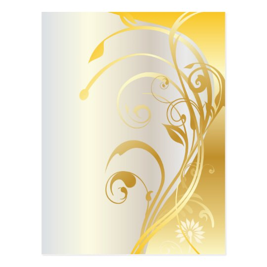 Gold floral ornaments postcard