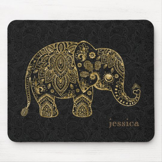 Gold Floral paisley Elephant Illustration Mouse Mat