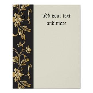 Gold floral pattern,art nouveau,vintage,chic,paris 11.5 cm x 14 cm flyer