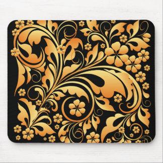 gold floral pattern mouse mat