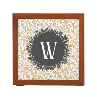 Gold Floral Pattern with Dark Gray Circle Monogram Desk Organiser