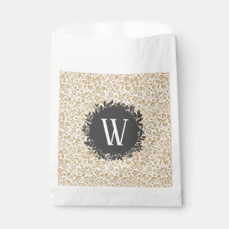 Gold Floral Pattern with Dark Gray Circle Monogram Favour Bags