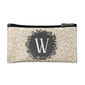 Gold Floral Pattern with Dark Gray Circle Monogram Makeup Bag