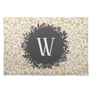 Gold Floral Pattern with Dark Gray Circle Monogram Placemat