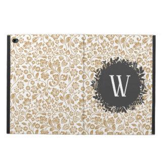 Gold Floral Pattern with Dark Gray Circle Monogram Powis iPad Air 2 Case