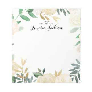 Gold Floral Personalized Notepad Stationery