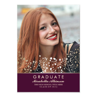 Gold Floral Photo Graduation Party Card