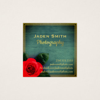 Gold Floral Rose On Wood Photography Business Card