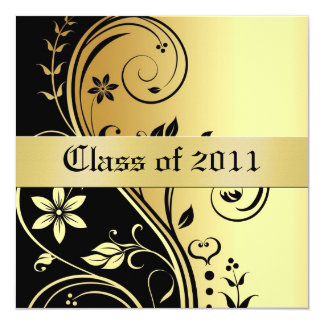 Gold Floral Scroll Class of Graduation Invitation