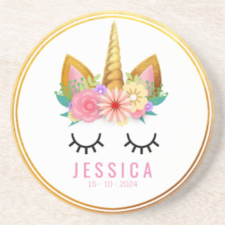 Gold Floral Unicorn Party Coaster