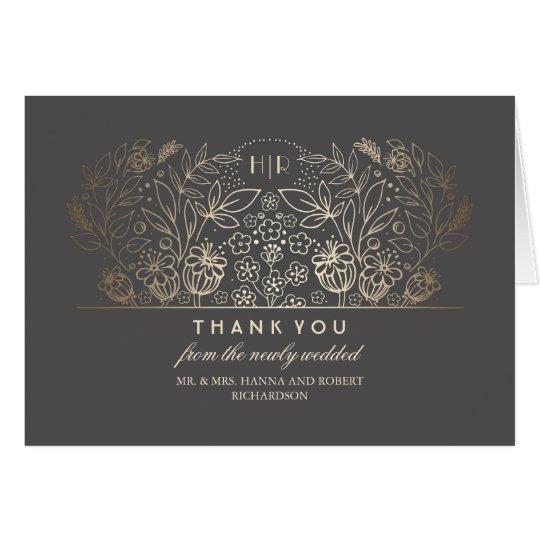 Gold Floral Vintage Elegant Romantic Thank You Card