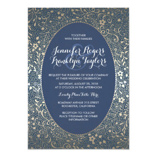 Gold Floral Vintage Navy Wedding Invitations