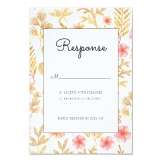 Gold Floral wedding invitation rsvp card