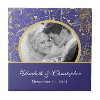 Gold Floral Wedding Photo Keepsake Tiles Purple