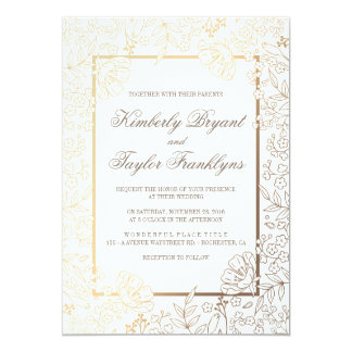 Gold Floral White Vintage Wedding Invitation