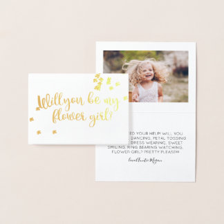 Gold Floral Will You Be My Flower Girl Photo Foil Card