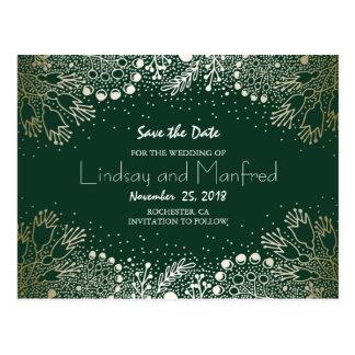 Gold Floral Wonderland Emerald Green Save the Date Postcard