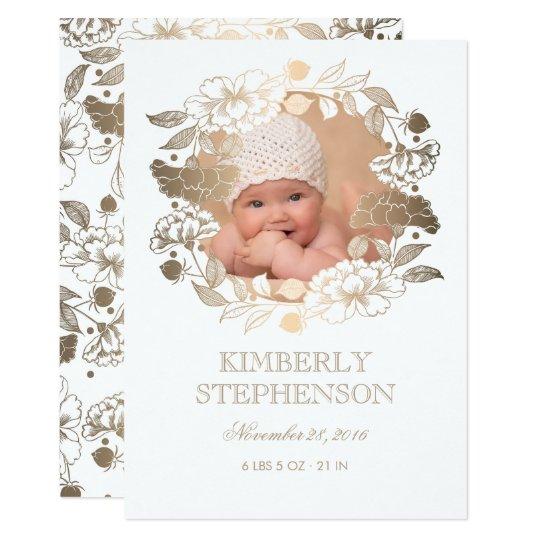 Gold Floral Wreath Sweet Newborn Baby Photo Birth