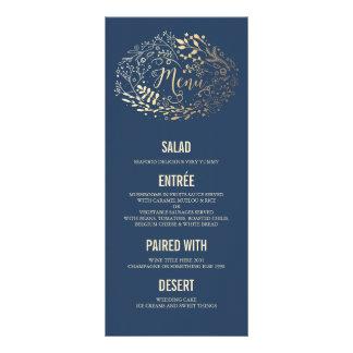 Gold Florals Elegant Navy Blue wedding menu cards