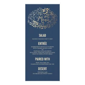 Gold Florals Elegant Navy Blue wedding menu cards Customized Rack Card