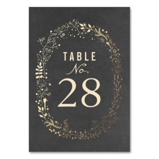 Gold Florals Wedding Table Numbers Table Cards