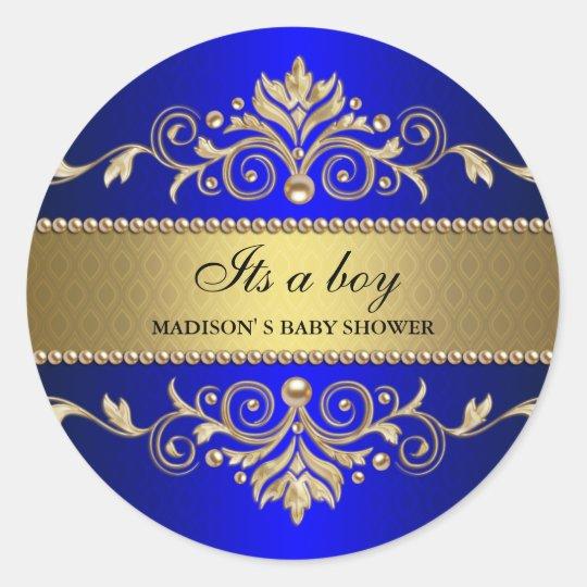 Gold Flourish Blue Elegant Baby Shower Its A