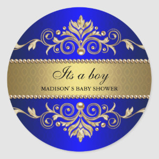Gold Flourish Blue Elegant Baby Shower Its A Boy Round Sticker