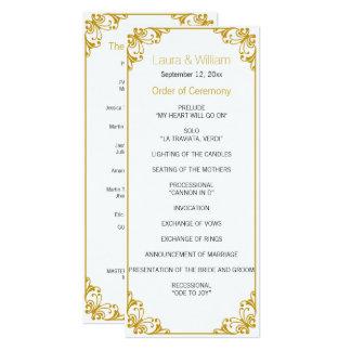 Gold Flourish Wedding Program 10 Cm X 24 Cm Invitation Card